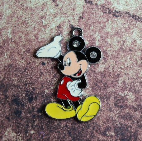 Emaille Mickey Mouse met strassoortjes